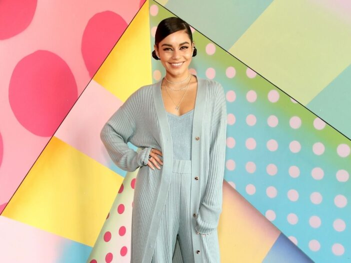 Vanessa Hudgens in an all mint green ensemble at the opening of Black Tap Craft Burgers