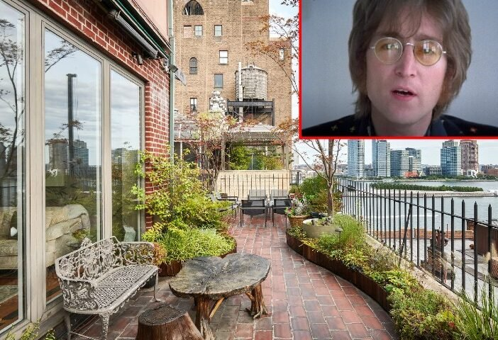 View from the porch of the penthouse with an inset image of John Lennon