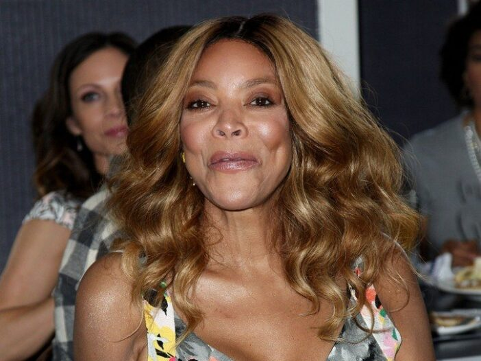 Wendy Williams wearing a thin strapped, multicolored sundress at a New York event