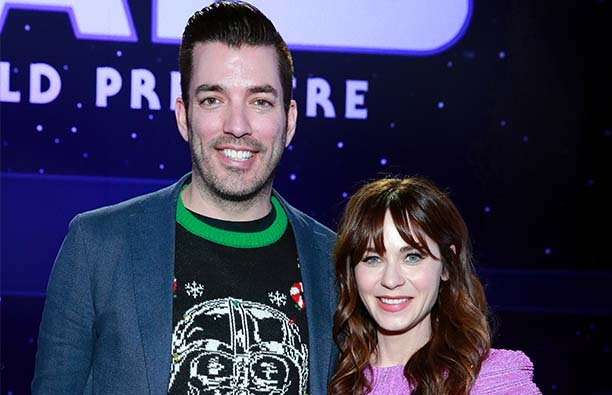 Zooey Deschanel and Jonathan Scott at the premiere of Star Wars: The Rise Of Skywalker