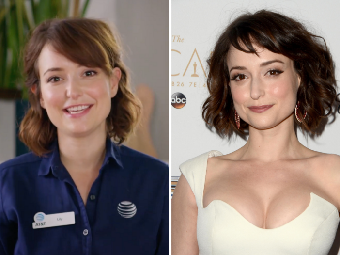"""Left to right: Milana Vayntrub playing """"Lily Adams"""" in an AT&T commercial, Milana Vayntrub wearing a white dress"""