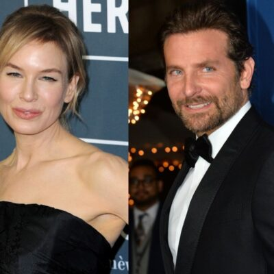 side by side photos of Renee Zellweger and Bradley Cooper