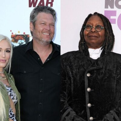 side by side photos of Gwen Stefani and Blake Shelton together next to Whoopi Goldberg