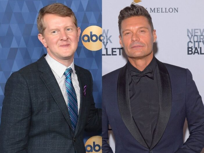 side by side photos of Ken Jennings in a suit and Ryan Seacrest in a tux