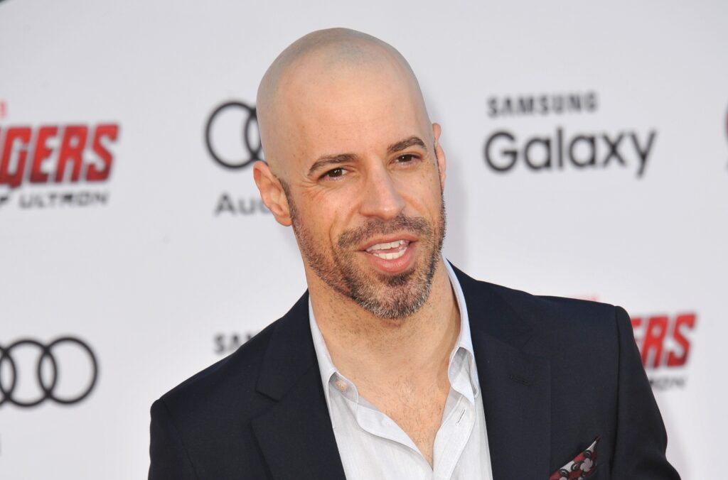 Chris Daughtry in a black suit at the world premiere of 'Avengers: Age of Ultron.'