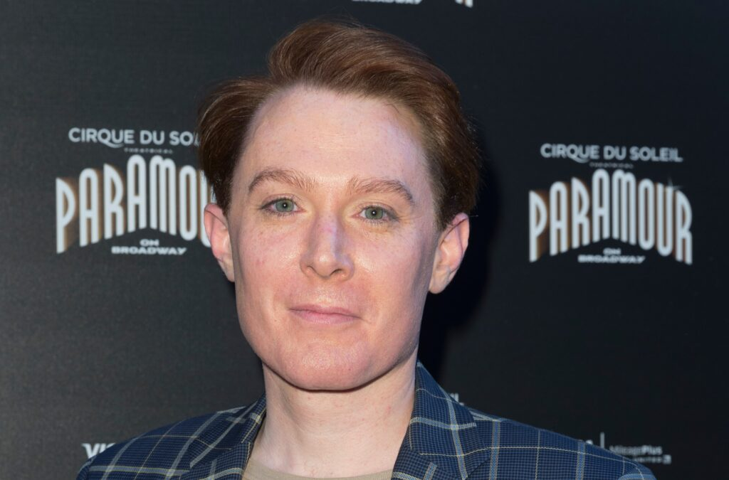 Clay Aiken in a blue plaid suit at the Cirque Du Soleil Paramour Broadway Opening Night.