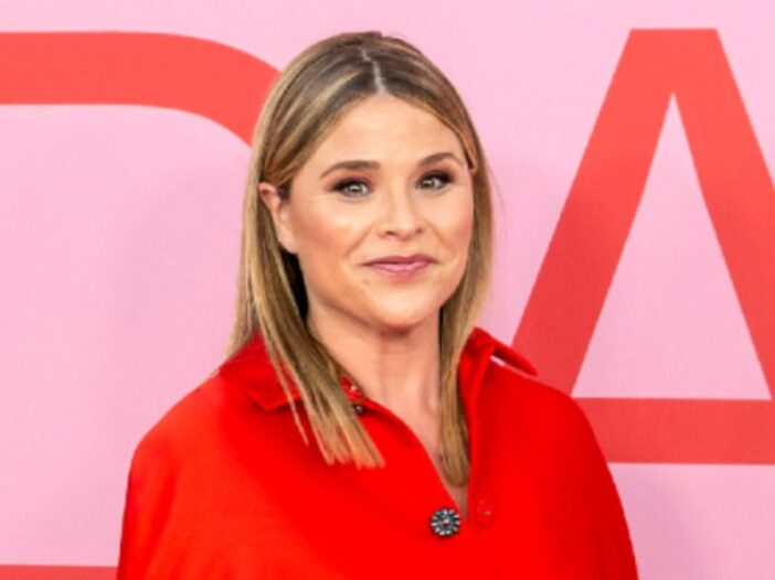 Jenna Bush Hager wears a red dress against a pink background