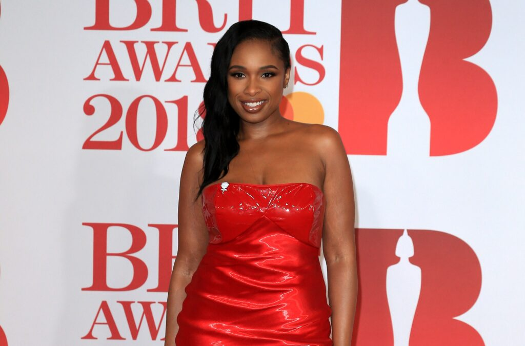 Jennifer Hudson in a red strapless dress at the BRIT Awards.