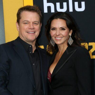 Matt Damon smiling with wife Luciana Barroso