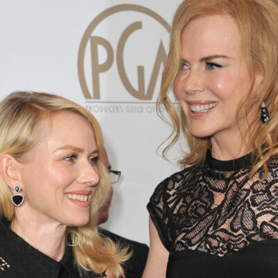 Naomi Watts on the left, Nicole Kidman on the right, smiling together