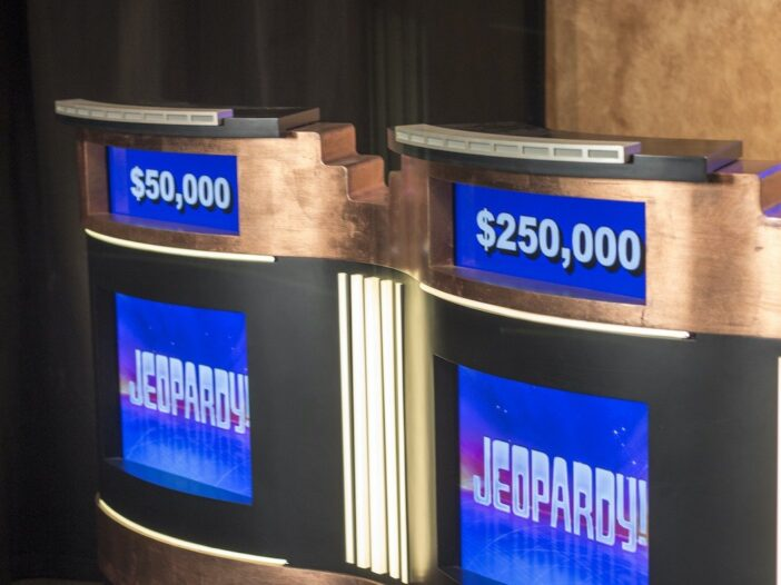 photo of two Jeopardy! podiums on a sound stage