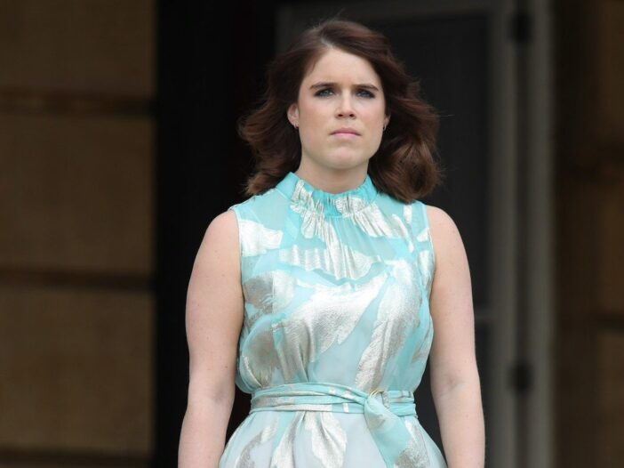 Princess Eugenie in a light blue and silver dress