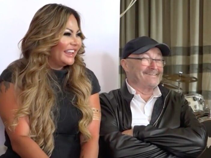 Screenshot of an aired interview with Phil Collins and Orianne Cevey sitting together