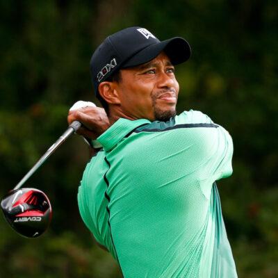 Tiger woods swinging a golf club