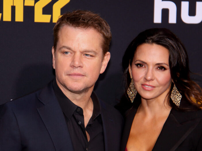 Matt Damon with wife Luciana Barroso at a red carpet event.