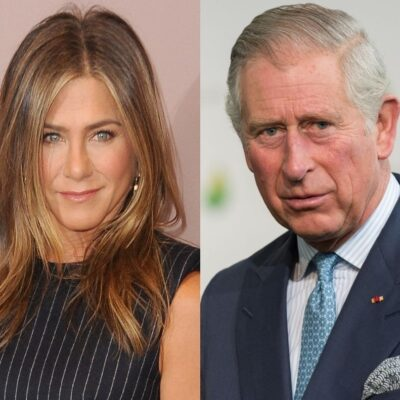 side by side close up photos of Jennifer Aniston and Prince Charles