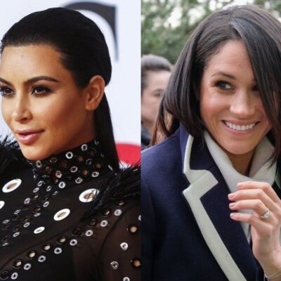 side by side close up photos of Kim Kardashian in a black dress and Meghan Markle in a blue coat