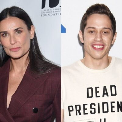 side by side close up photos of Demi Moore and Pete Davidson