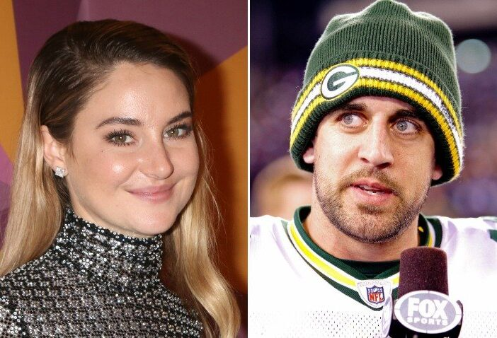 Side by side image of actress Shailene Woodley and Green Bay Packers Quarterback Aaron Rodgers