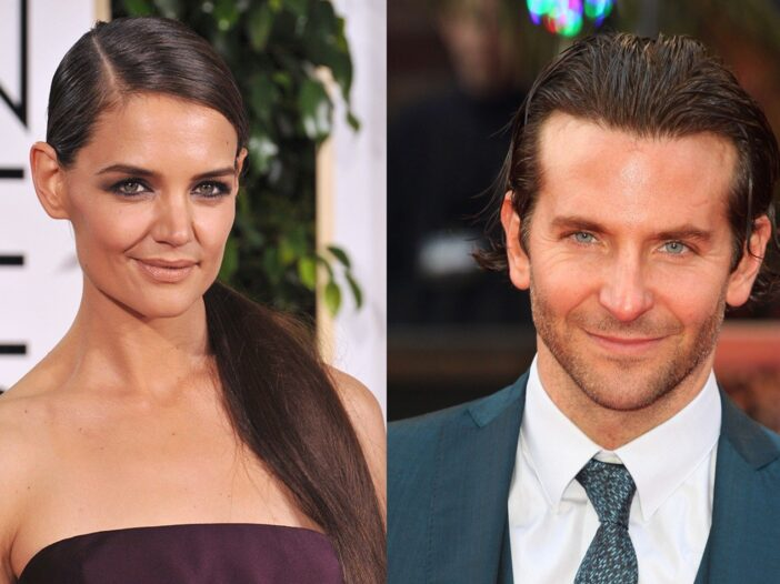 Side by side photos, Katie Holmes on the left, Bradley Cooper on the right.