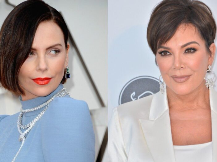 side by side photos of Charlize Theron in blue and Kris Jenner in white