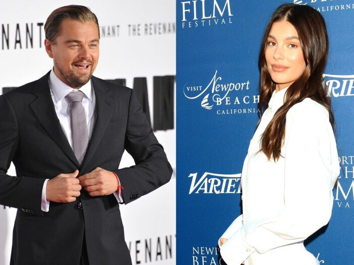 Side-by-side photos of Leonardo DiCaprio on the left, and Camila Morrone on the right.