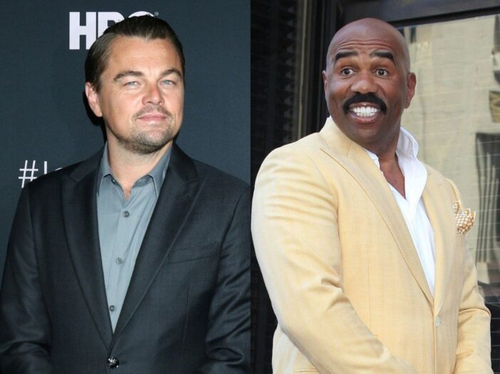 side by side photos of Leonardo DiCaprio and Steve Harvey