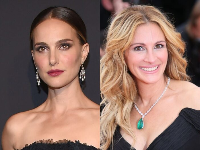 side by side photos of Natalie Portman in a black dress with red lipstick and Julia Roberts in a black dress