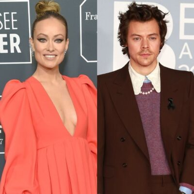 side by side photos of Olivia Wilde in a peach dress and Harry Styles in a brown suit