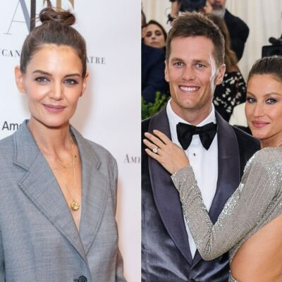 side by side photos of Tom Brady and Gisele Bundchen and Katie Holmes