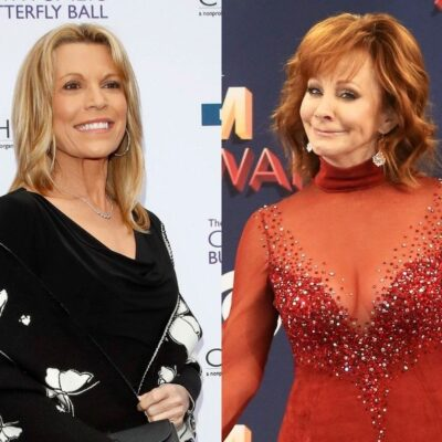 side by side photos of Vanna White smiling in a black dress and Reba McEntire smiling in a red dress