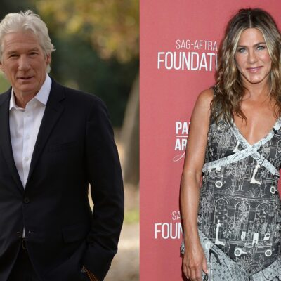 Side-by-side photos, Richard Gere in a suit on the left, Jennifer Aniston in a dress on the right.