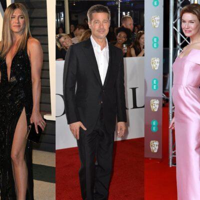Three side-by-side photos. Jennifer Aniston in a black dress, Brad Pitt in a suit, Renee Zellweger in a pink dress.