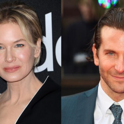 Two side by side photos of Renee Zellweger and Bradley Cooper