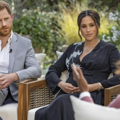 Prince Harry and Meghan Markle being interviewed by Oprah.