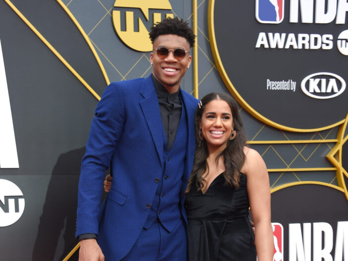 Mariah Riddlesprigger and her boyfriend, Giannis Antetokounmpo, at an event.