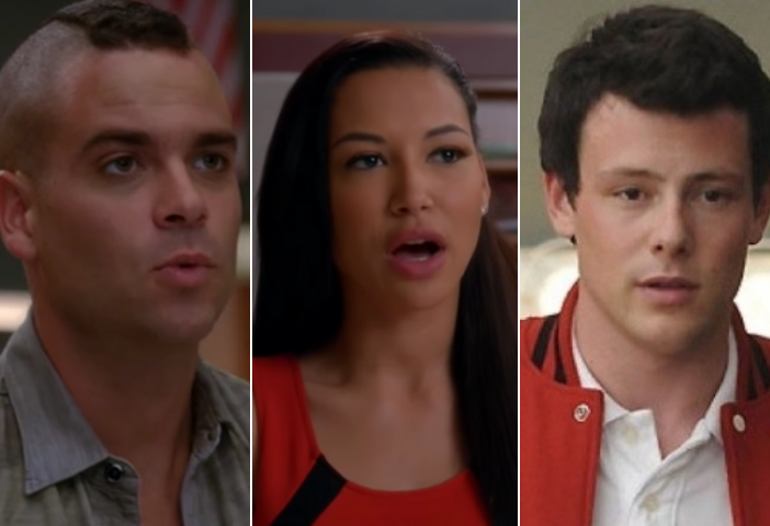Side by side images of Mark Salling, Naya Rivera, and Cory Monteith from Glee
