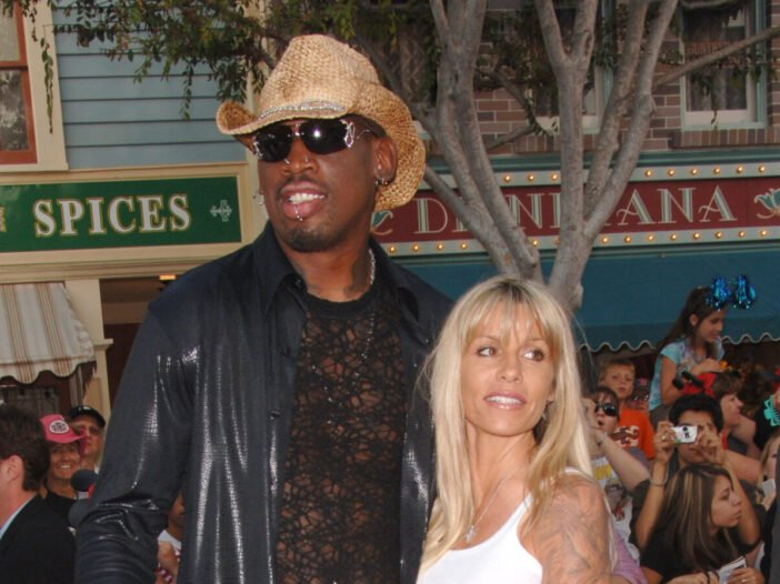 Dennis Rodman and his ex-wife Michelle Moyer at the premiere of 'Pirates of the Caribbean: Dead Man's Chest'