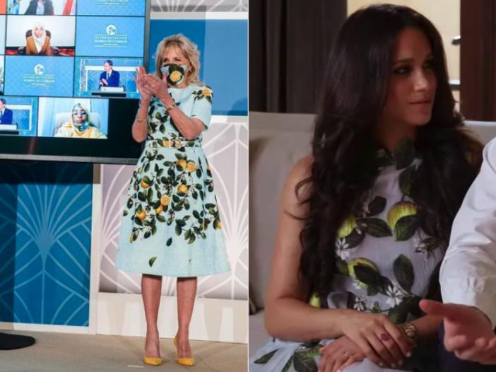 Side by side images of Jill Biden and Meghan Markle in lemon print Oscar de la Renta dresses.