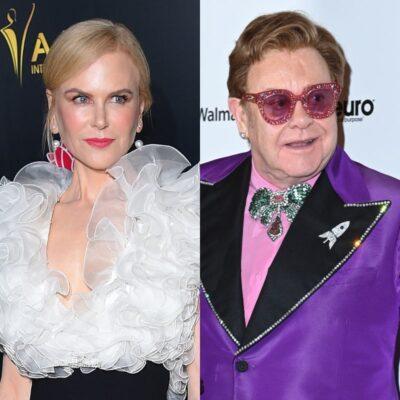 side by side photos of Nicole Kidman and Elton John