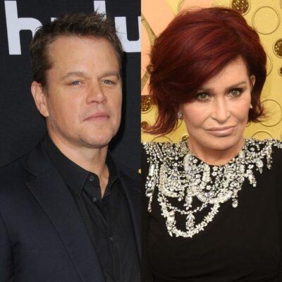 side by side photos of Matt Damon and Sharon Osbourne