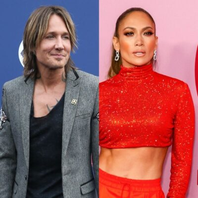 side by side photos of Keith Urban and Jennifer Lopez