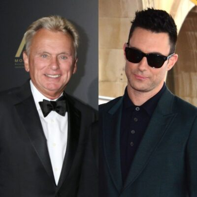 side by side photos of Pat Sajak in a tuxedo and Adam Levine in a suit