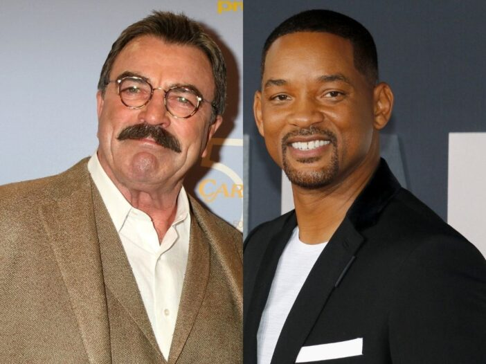 side by side pictures of Tom Selleck and Will Smith