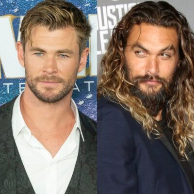 side by side photos of Chris Hemsworth and Jason Momoa