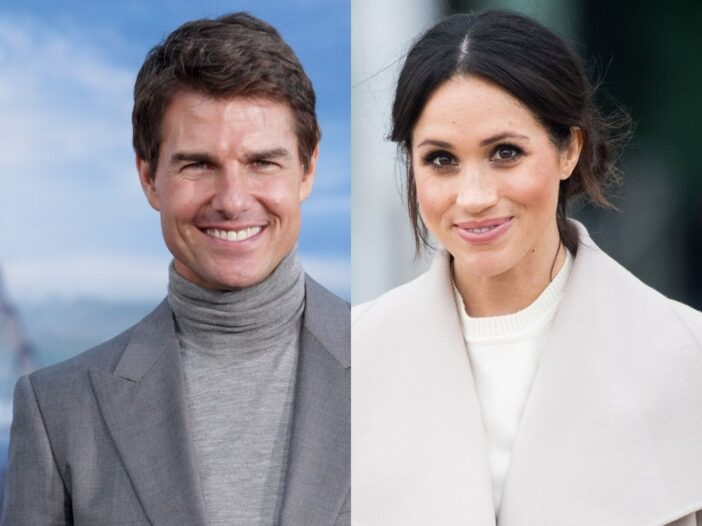 side by side photos of Tom Cruise and Meghan Markle