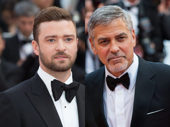 side by side pics of Justin Timberlake and George Clooney in tuxedos