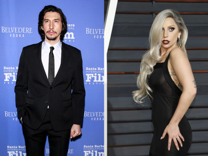 Side by side photos, Adam Driver on the left, Lady Gaga on the right.