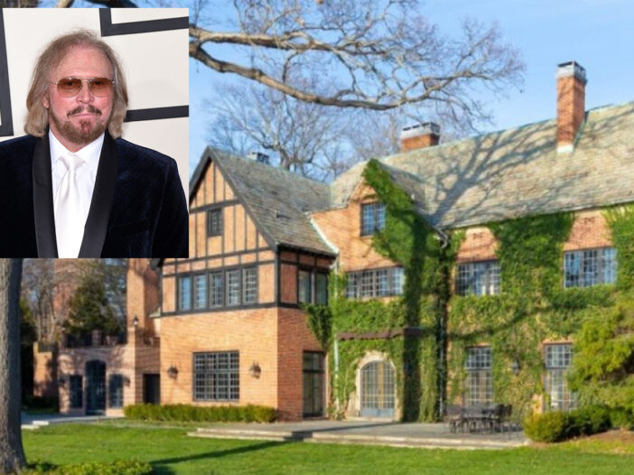 Barry Gibb's former house with a photo of Gibb inserted on the top left corner