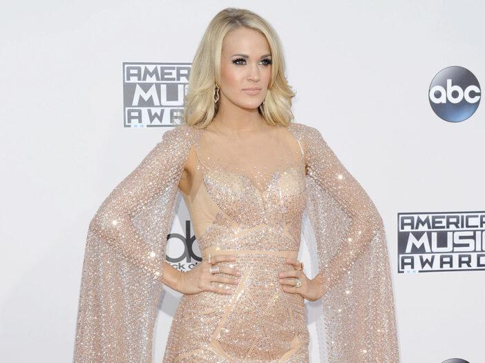 Carrie Underwood looking fierce in a glittery dress.